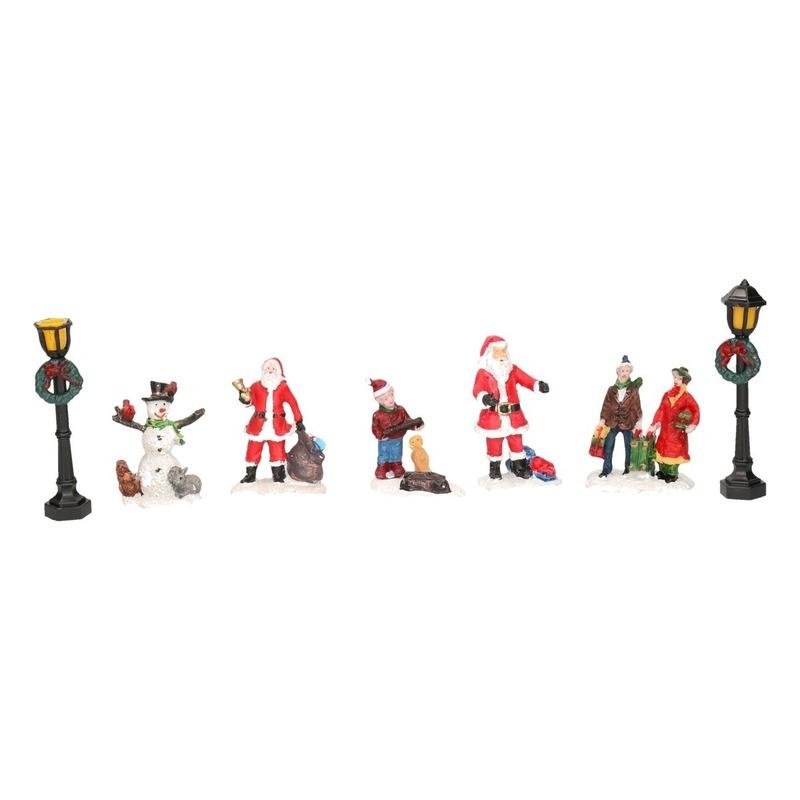 7x Kerstdorp mensen set type 3 Kerstman-sneeuwpop