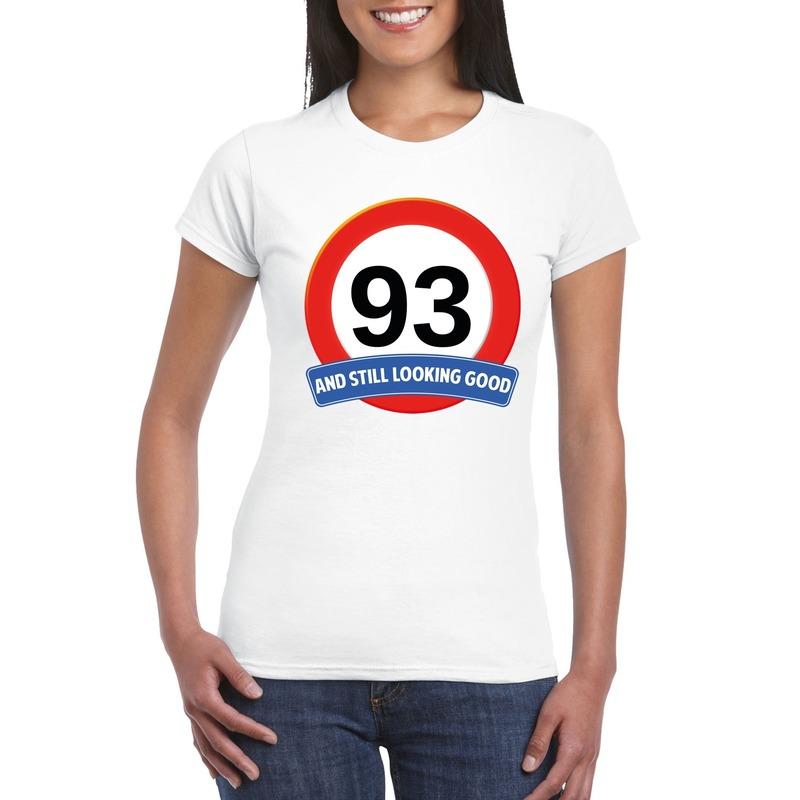 93 jaar verkeersbord t-shirt wit dames