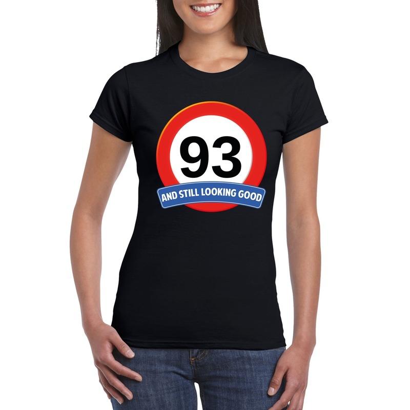 93 jaar verkeersbord t-shirt zwart dames