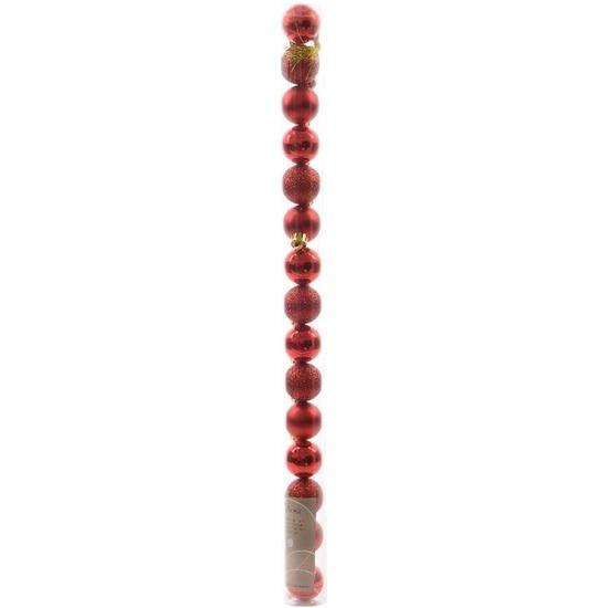 Ambiance Christmas kerstboom decoratie mini kerstballen rood 15 stuks