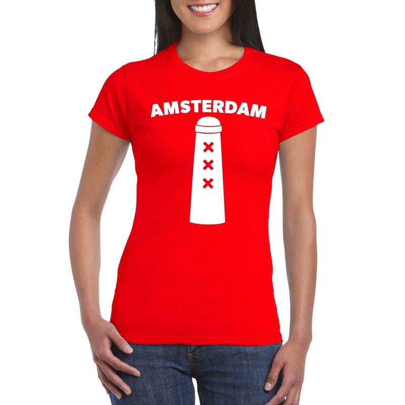 Amsterdam shirt met Amsterdammertje rood dames
