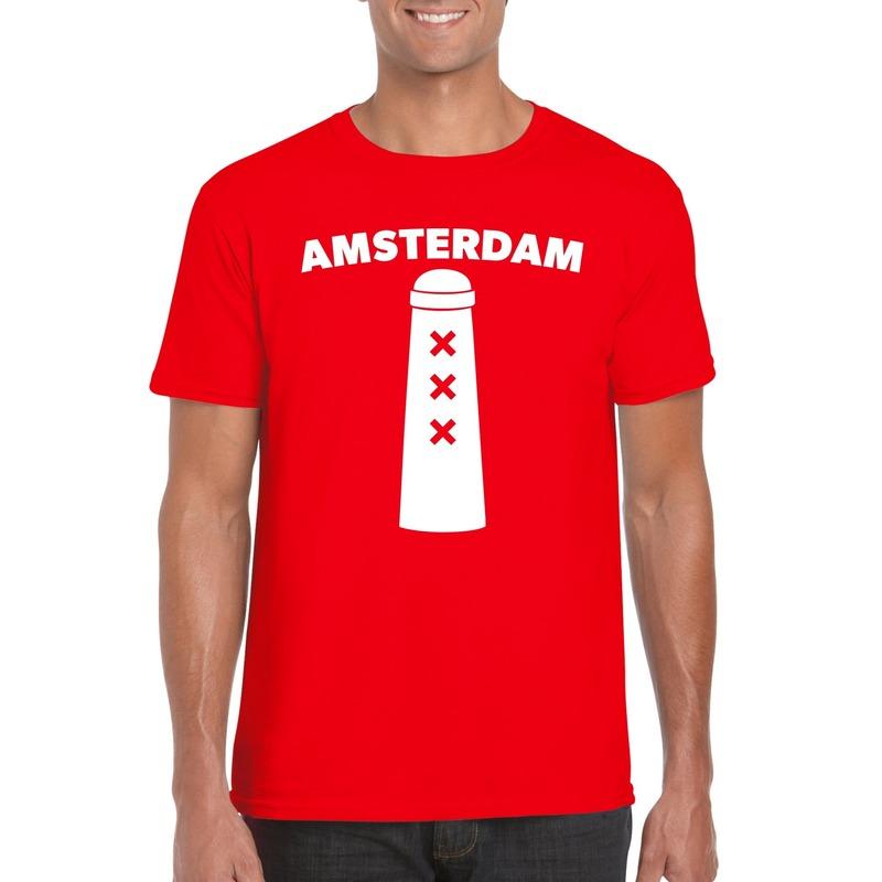 Amsterdam shirt met Amsterdammertje rood heren