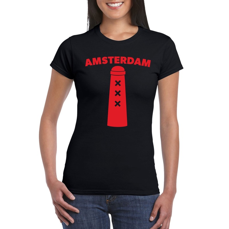 Amsterdam shirt met Amsterdammertje zwart dames
