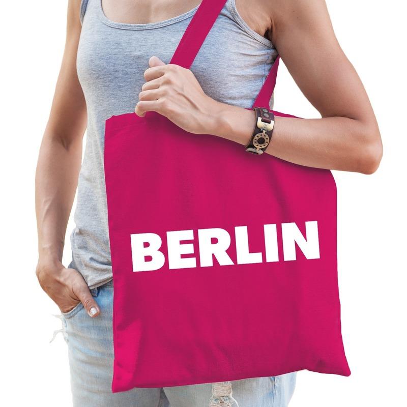 Berlijn schoudertas fuchsia roze katoen met Berlin bedrukking
