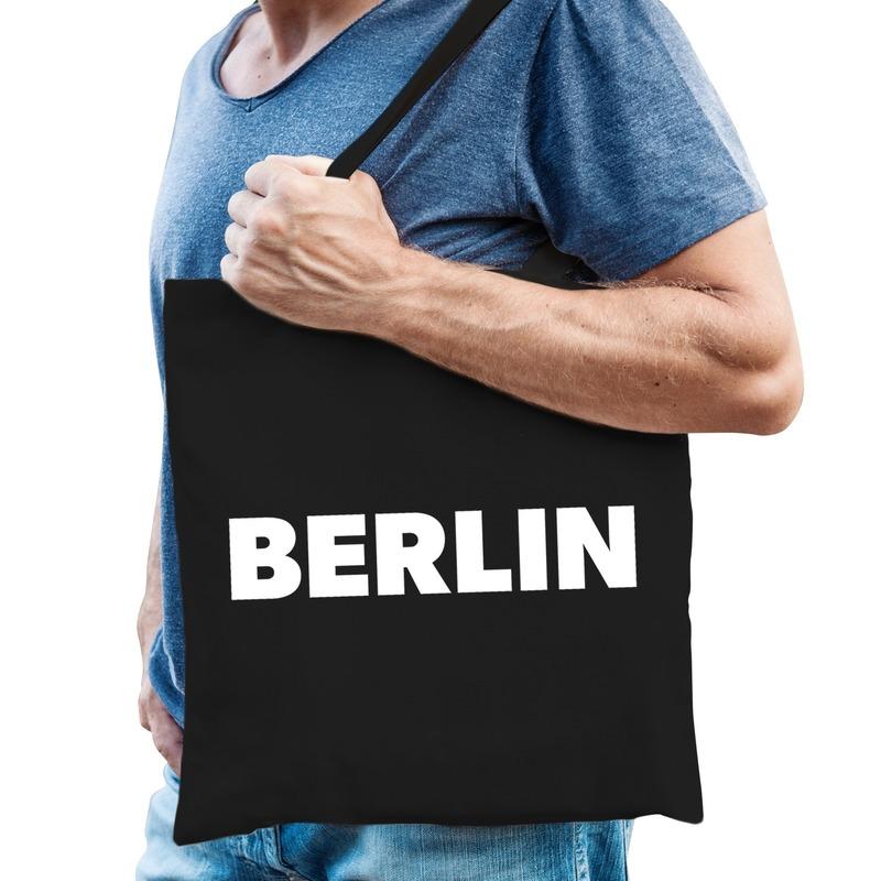 Berlijn schoudertas zwart katoen met Berlin bedrukking