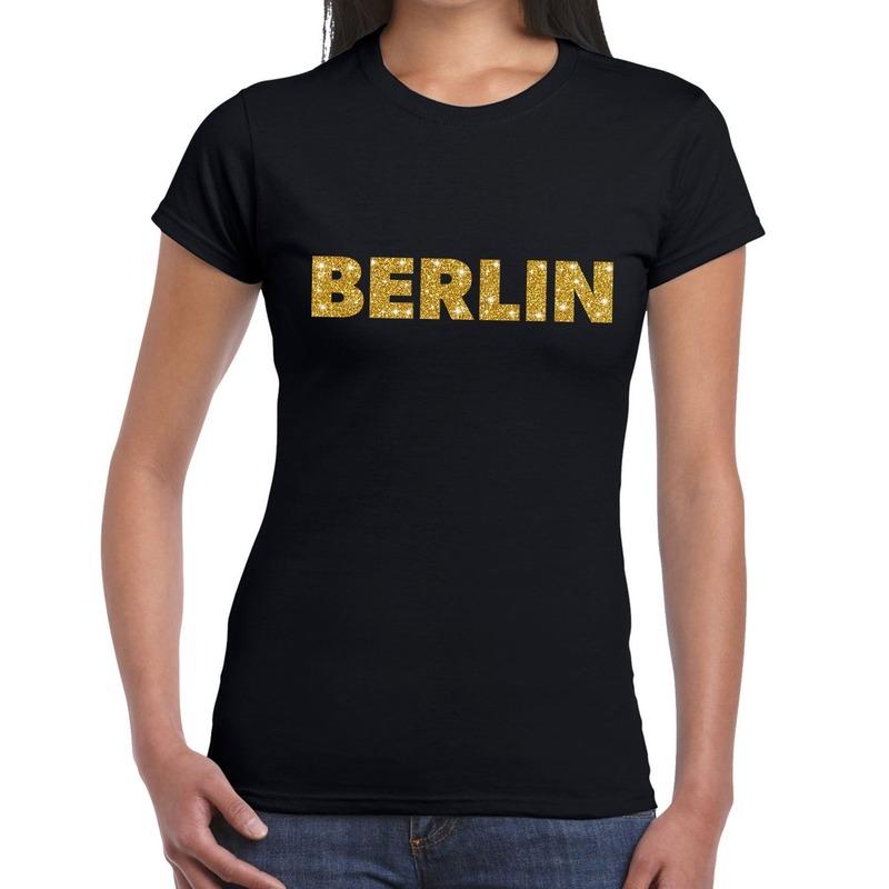 Berlin gouden letters fun t-shirt zwart voor dames
