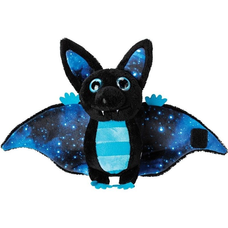 Blauw met zwarte vleermuizen knuffels 17 cm knuffeldieren