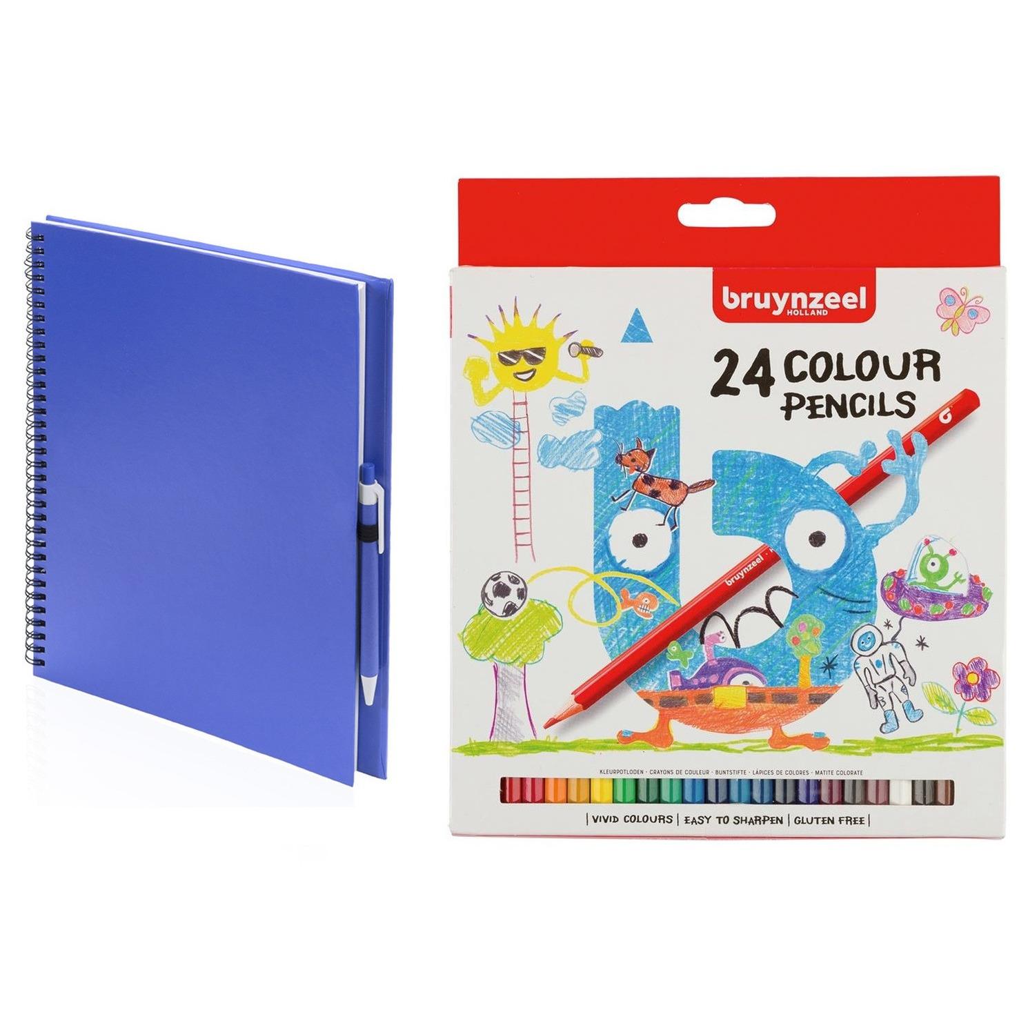 Blauw schetsboek-tekenboek met 24 kleurpotloden