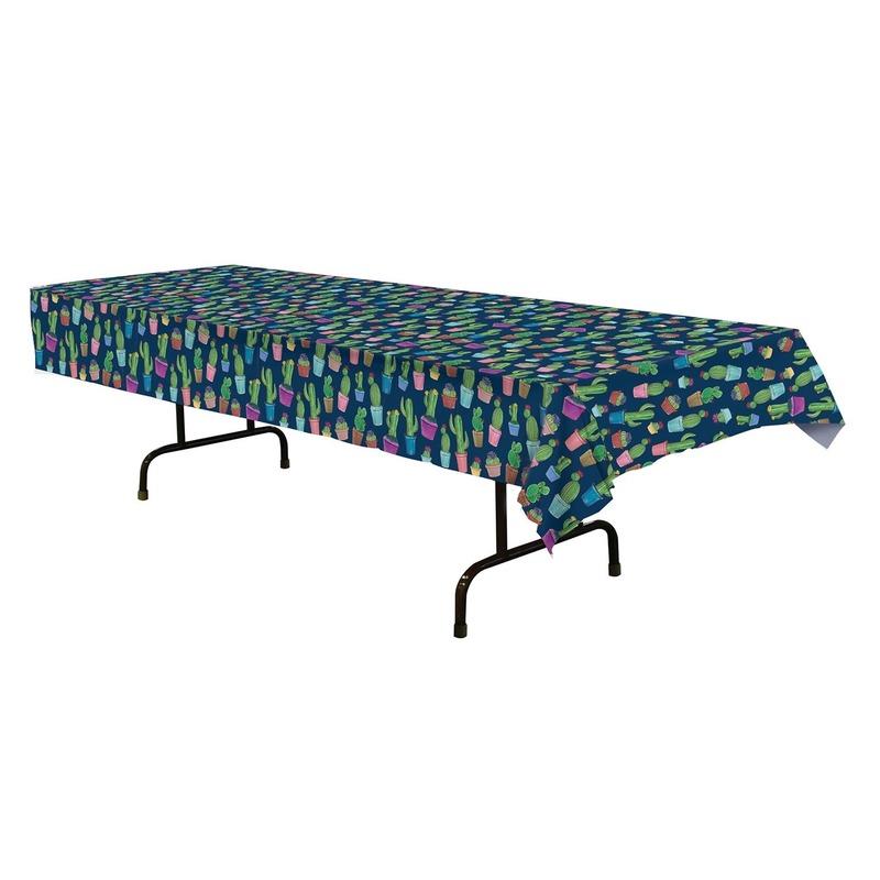 Blauw tafelkleed cactus print 137 x 274 cm