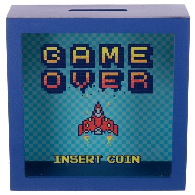 Blauwe spaarpot met raam Game Over Insert Coin 18x18 cm