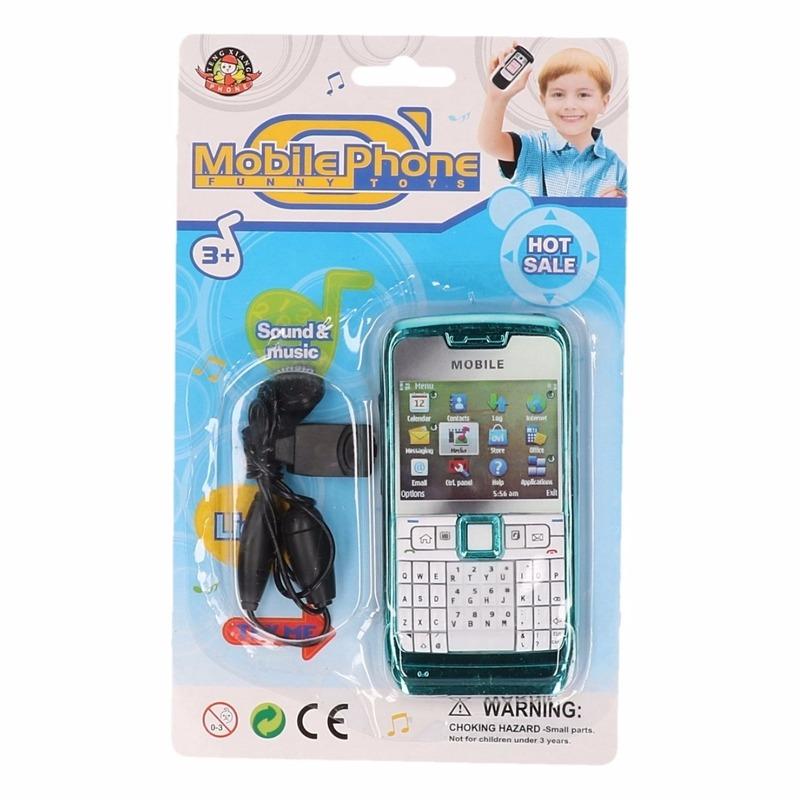 Blauwe speelgoed telefoon voor kinderen
