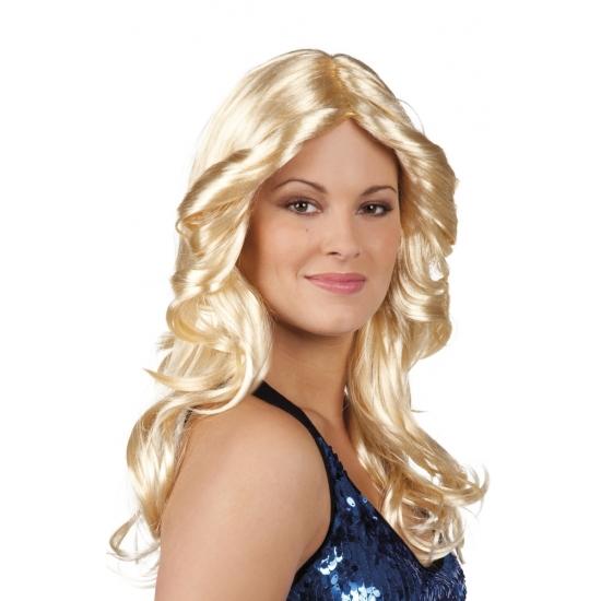 Blonde disco pruik met pony