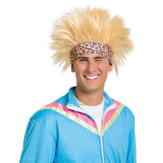 Blonde funny pruik met zweetband