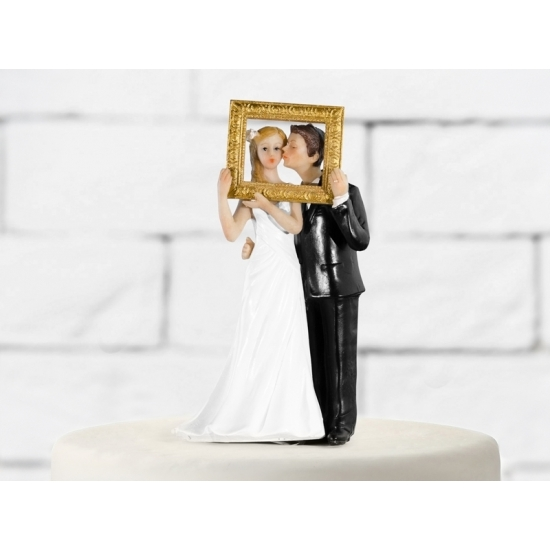 Bruiloft taart poppetjes met fotolijst