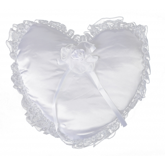 Bruiloft trouwring kussen wit 30 cm