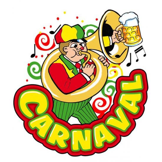 Carnaval raamsticker muzikant 35 x 40 cm