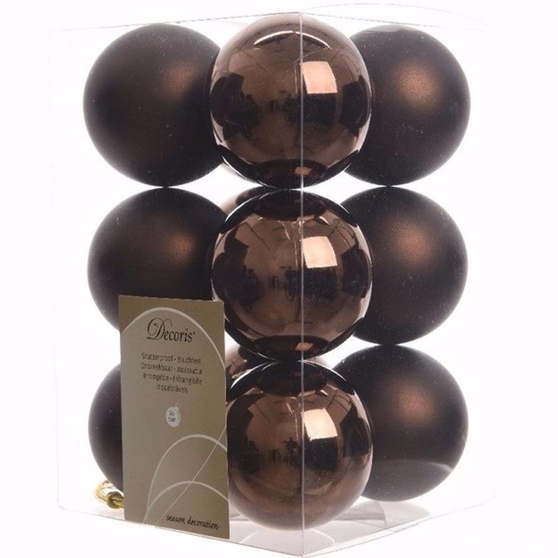 Chique Christmas kerstboom decoratie kerstballen bruin 12 stuks