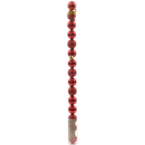 Christmas Red kerstboom decoratie mini kerstballen rood 15 stuks