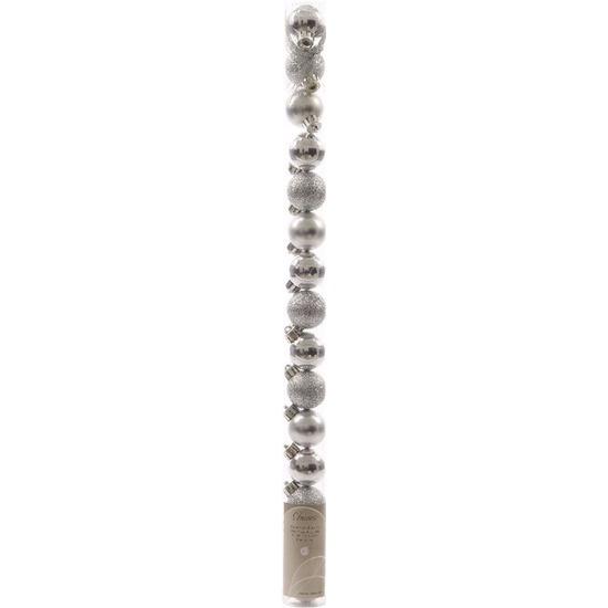 Christmas Silver kerstboom decoratie mini kerstballen zilver 15 stuks