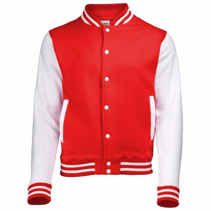 College jacket/vest rood/wit voor heren
