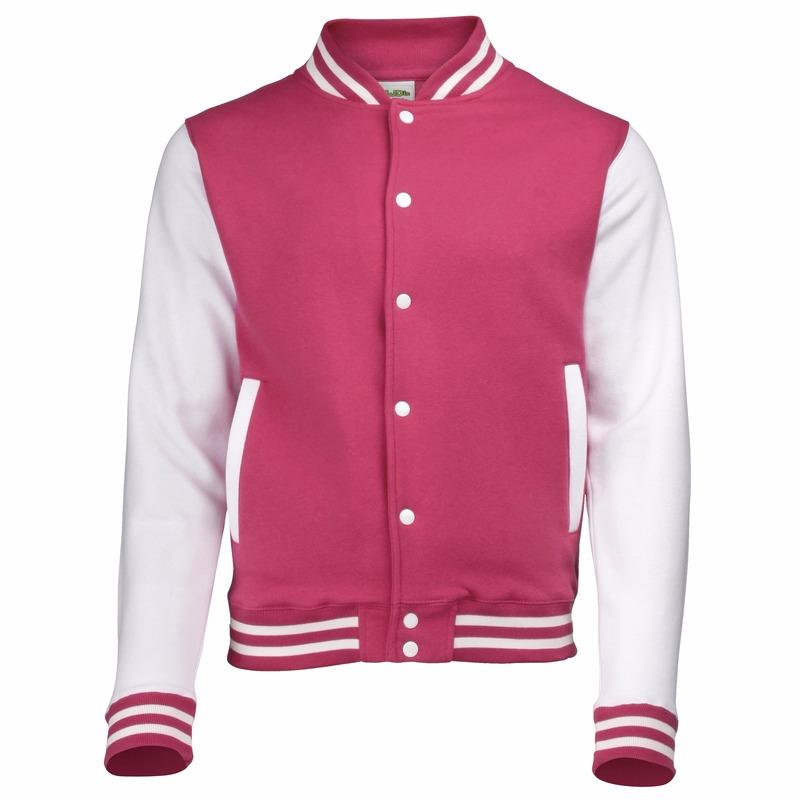 College jacket/vest roze/wit voor heren