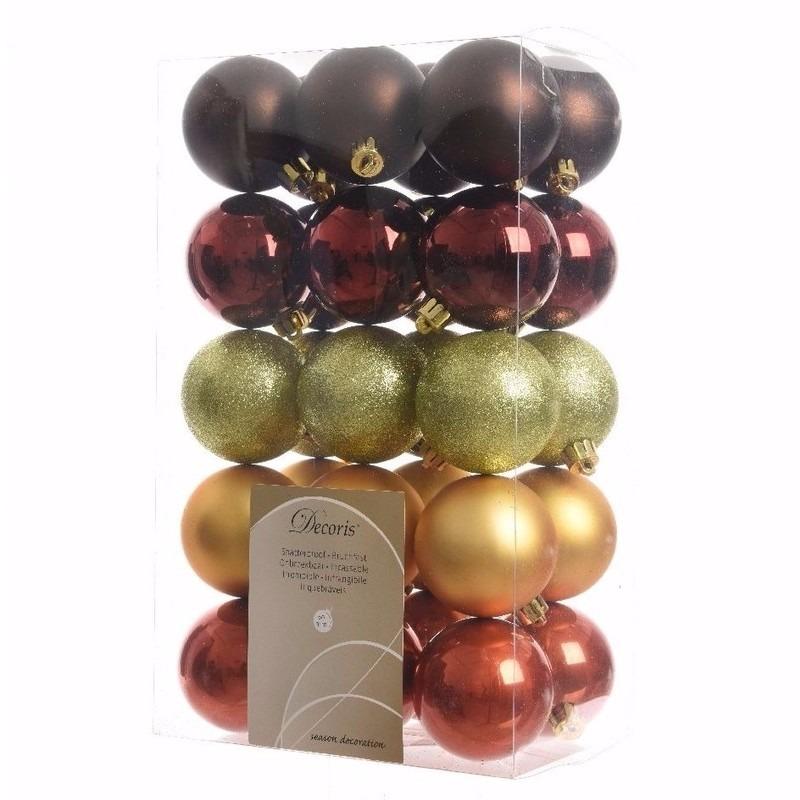 Cosy Christmas kerstboom decoratie kerstballen 30 stuks