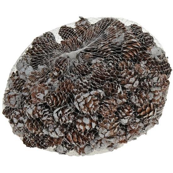 Decoratie dennenappeltjes bruin-sneeuw 300 gram 3 cm winterstukje-kerststukje maken