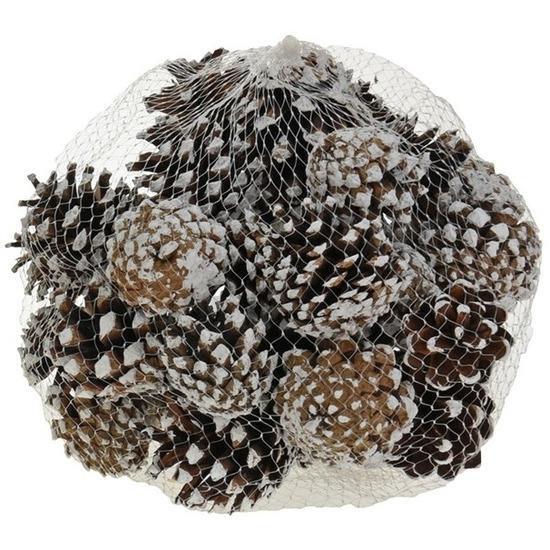 Decoratie dennenappeltjes bruin-sneeuw 300 gram 5 cm winterstukje-kerststukje maken