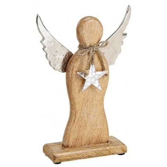 Decoratie engel van mangohout 27 cm