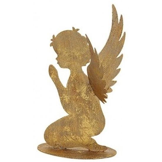 Decoratie engeltje biddend goud glitter metaal 16 cm