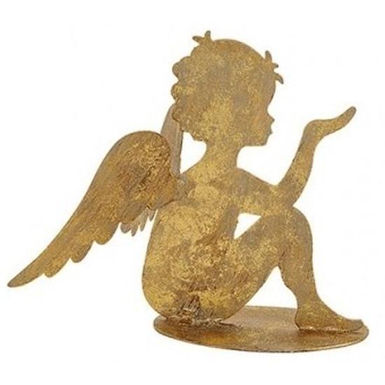 Decoratie engeltje zittend goud glitter metaal 16 cm