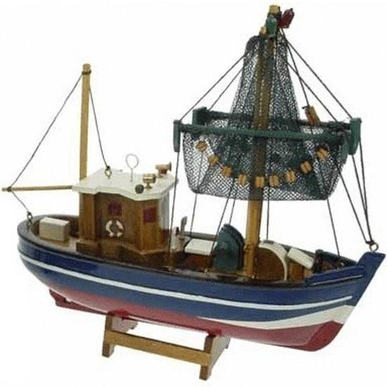 Decoratie vissersboot met netten omhoog 24 cm