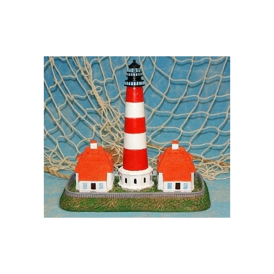 Westerhever deco vuurtoren   huisjes met licht van ongeveer 16 x 8 x 9 cm. materiaal: kunststof.