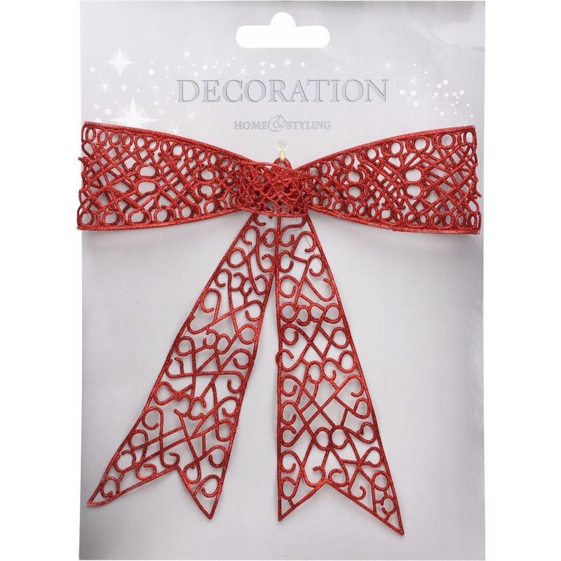 Deur decoratie strik rood 36 cm