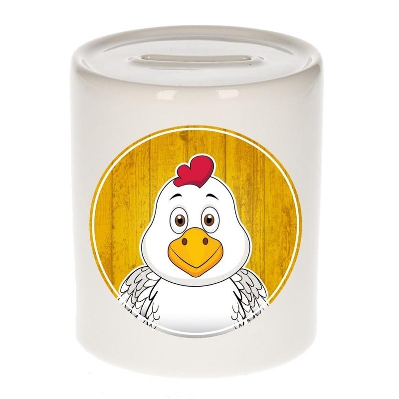 Dieren spaarpot kip voor kinderen 9 cm