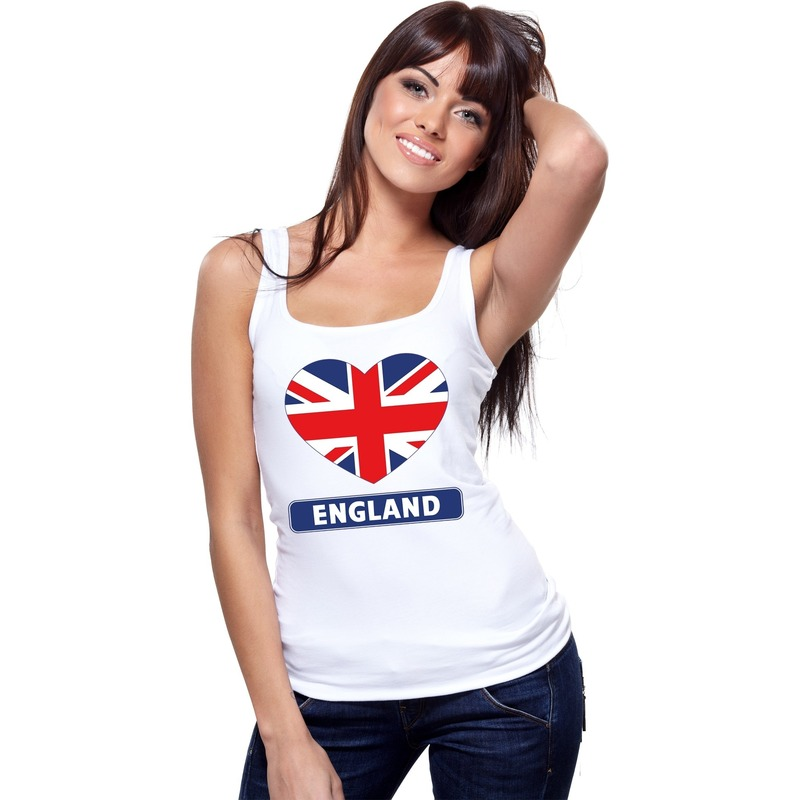 wit engeland hart vlag singlet shirt tanktop voor dames dit engelse mouwloze shirt heeft een print van een ...