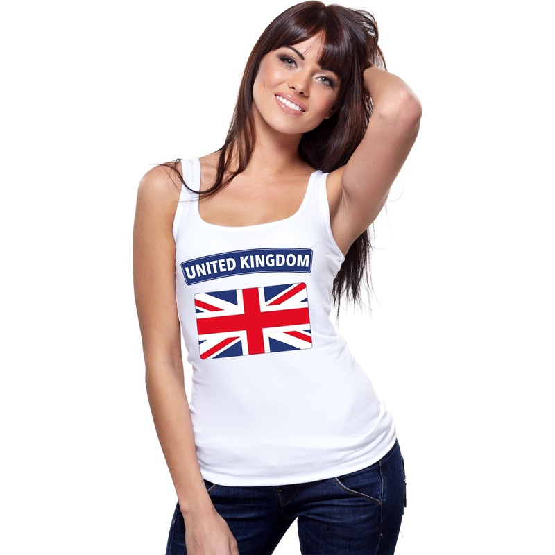 wit engelse vlag singlet shirt tanktop voor dames op dit mouwloze shirt staat de vlag van engeland materiaal 150 grams 100 katoenlet op dit artikel valt klein we adviseren om 1 maat groter te bestellen