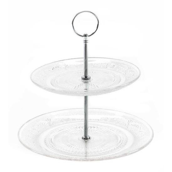 Etagere met 2 schalen van glas
