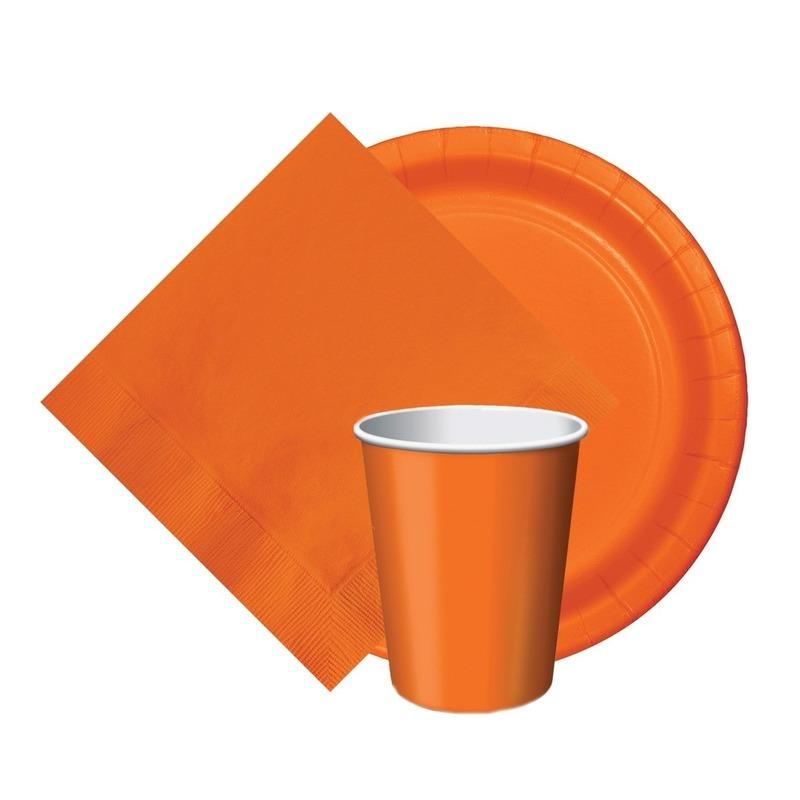 Feest decoratie pakket oranje 8 bekertjes-8 bordjes-20 servetjes