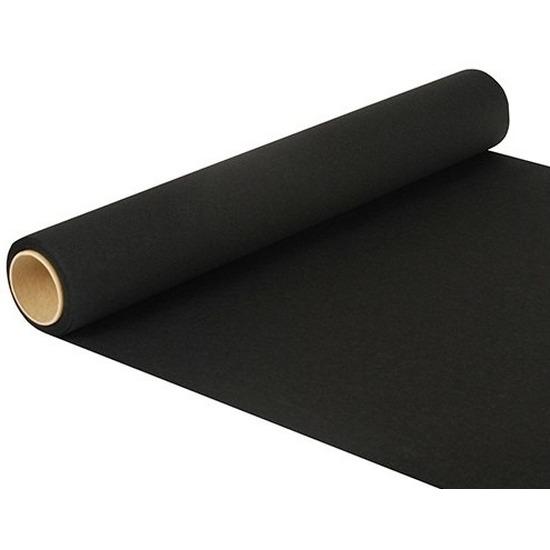 Feest-party zwarte tafeldecoratie papieren tafelloper 500 x 40 cm