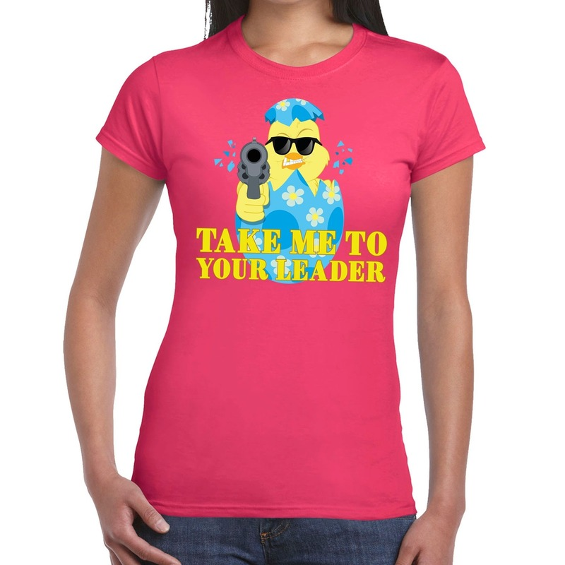 Fout Pasen shirt roze take me to your leader voor dames