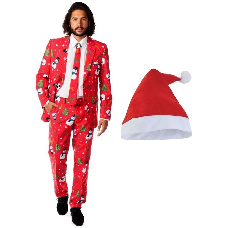 Foute Kerst Opposuits pakken-kostuums met Kerstmuts maat 56 (3XL) voor heren Christmaster