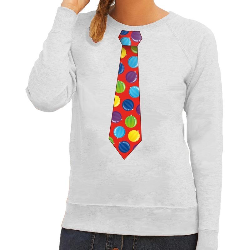 Foute kerst sweater met kerstballen stropdas groen voor dames