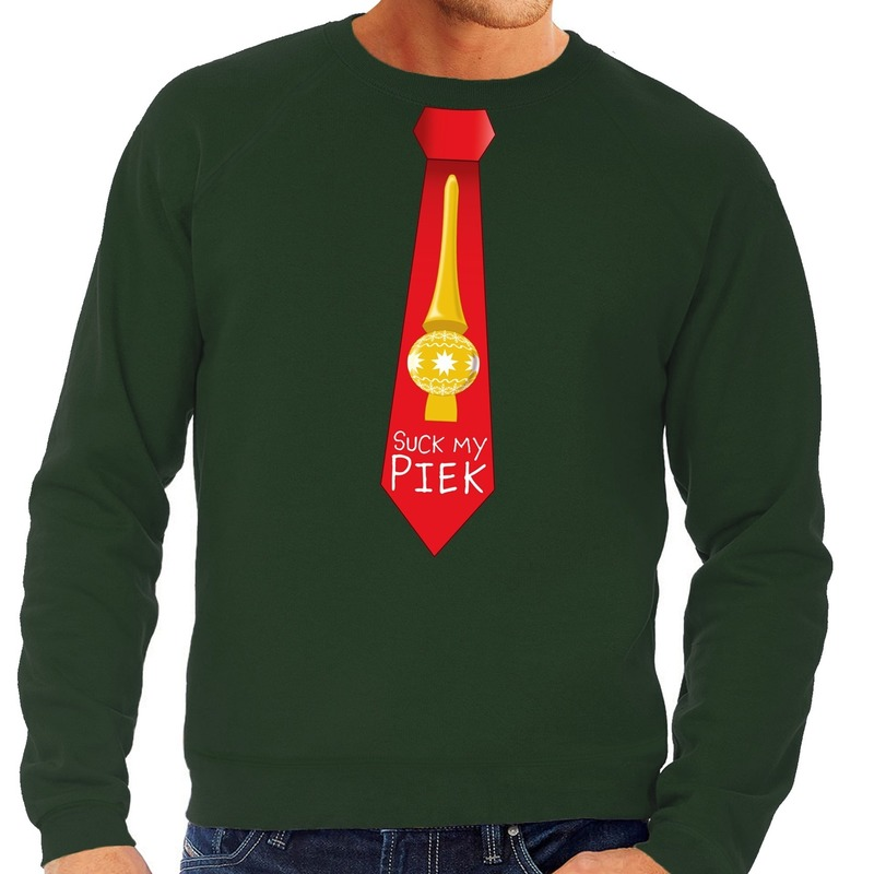 Foute kerst sweater met suck my piek stropdas groen voor heren