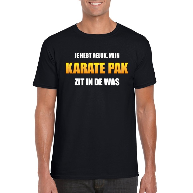 Fun t-shirt karatepak in de was zwart voor heren