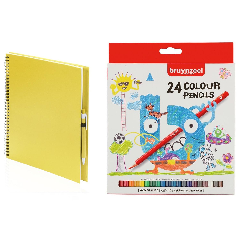 Geel schetsboek-tekenboek met 24 kleurpotloden