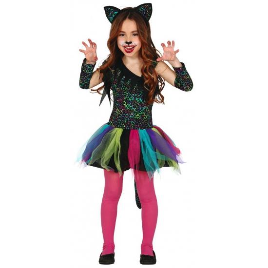 Gekleurd katten carnaval-halloween pakje voor meisjes