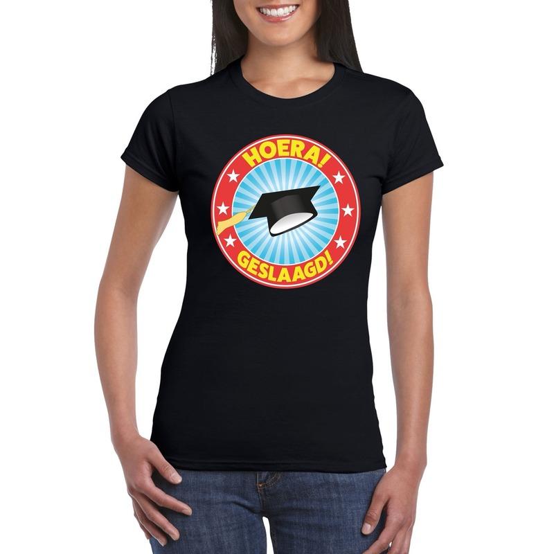Geslaagd t-shirt zwart met afstudeerhoedje dames