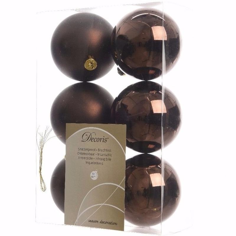 Glamour Christmas kerstboom decoratie kerstballen bruin 6 stuks