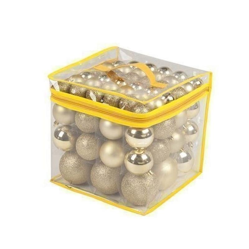 Gouden kerstballen onbreekbaar 77 stuks 4-6-8 cm